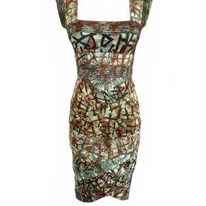 Rare Hervé Léger Graffiti Print Bandage Dress XS